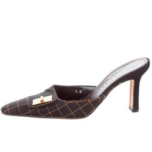 Auth Chanel Mules Heels Gold Black Mademoiselle